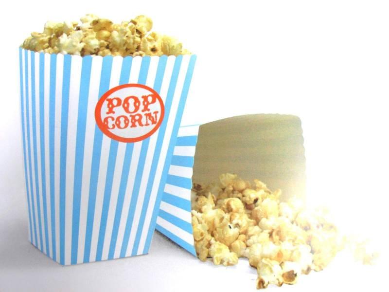 Pot à pop corn en carton x10 - Turquoise