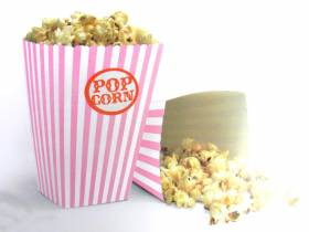 Pot à pop corn en carton x10 - Rose