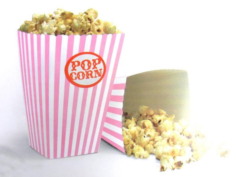 Pot à pop corn en carton x10 - Rose