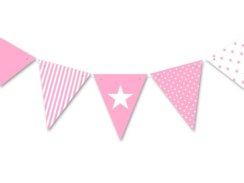 Guirlande anniversaire et fête rose 3.5m