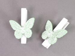 Papillon sur pince - vert d'eau