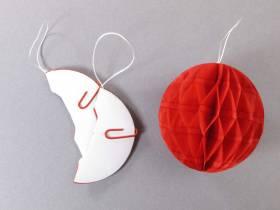 Mini boule en papier alvéolé - rouge