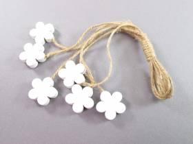 Fleur bois et ficelle déco printemps - Blanc