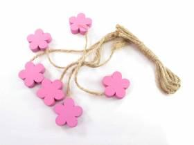 Fleur bois et ficelle déco printemps - Fuchsia