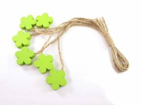Fleur bois et ficelle déco printemps - Vert Tilleul