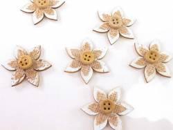 Fleur bouton bois et jute sticker déco printemps