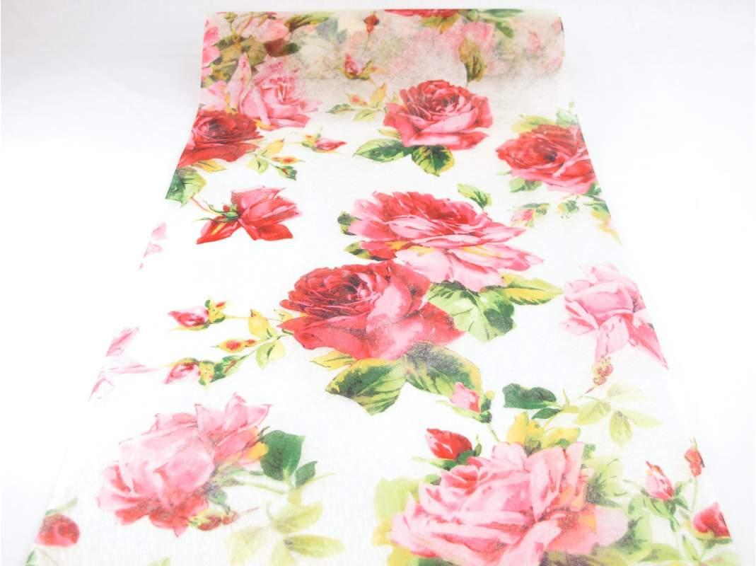 chemin de table fleur rose - decofete-servimag