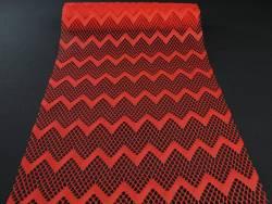 Chemin de table dentelles vagues rouge