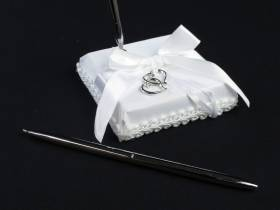 Stylo argenté socle cérémonie mariage