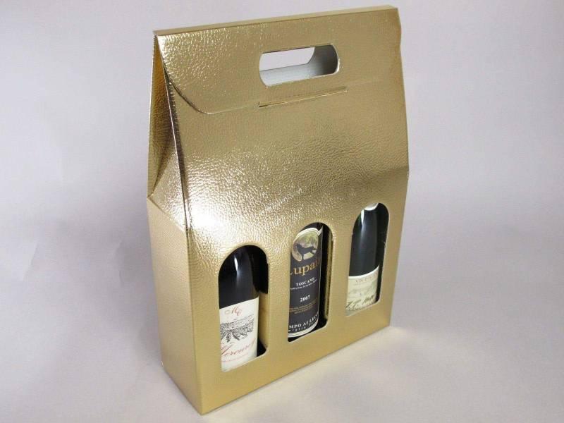 Boite 3 bouteilles - Or 27x9x39cm