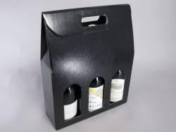Boite 3 bouteilles à champagne - Cuir Noir 30x10x38,5cm
