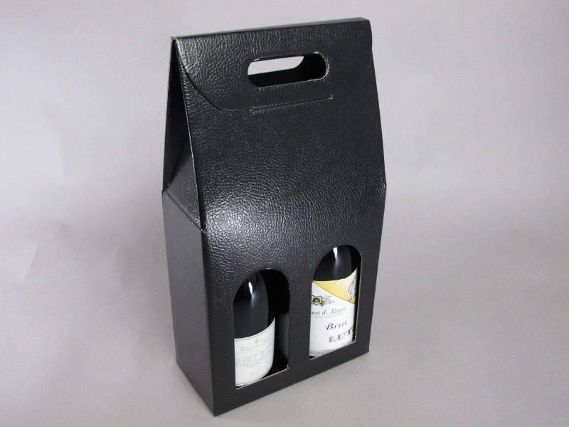 Boite 2 bouteilles - Cuir Noir 18x9x39cm