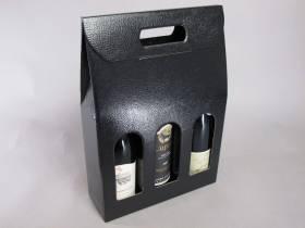 Boite 3 bouteilles - Cuir Noir 27x9x39cm