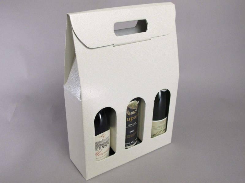 Boite 3 bouteilles - Cuir Blanc 27x9x39cm