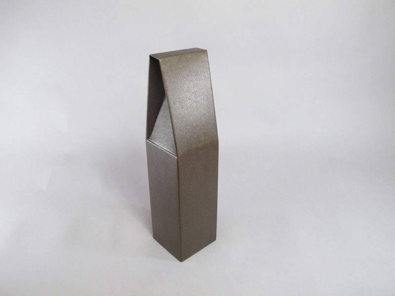 Boite 1 bouteille - Cuir Marron 9x9x37cm