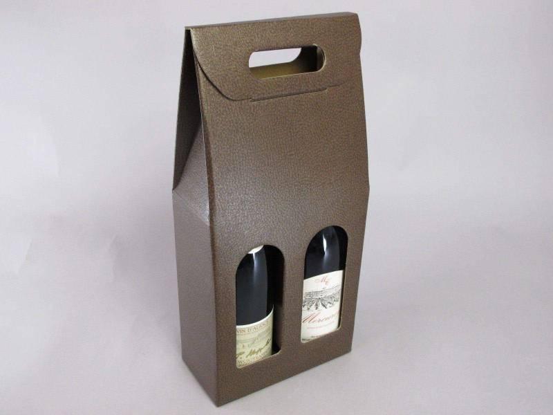 Boite 2 bouteilles - Cuir Marron 18x9x39cm