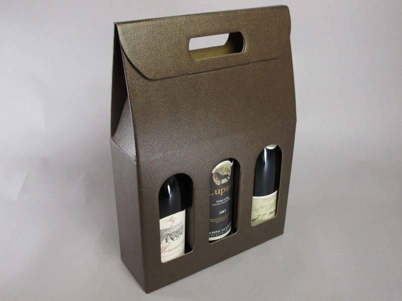 Boite 3 bouteilles - Cuir Marron 27x9x39cm