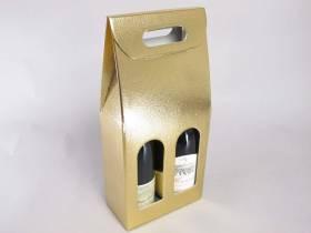 Boite 2 bouteilles - Cuir Or 18x9x38,5cm