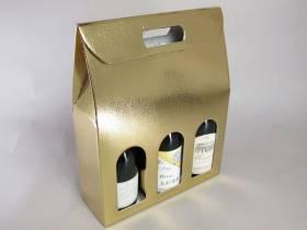 Boite 3 bouteilles - Cuir Or 27x9x39cm