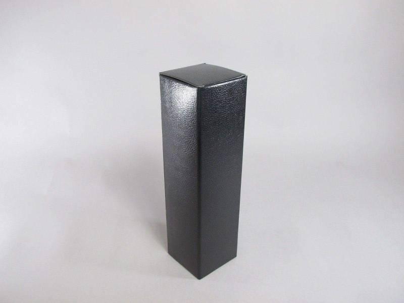 Boite 1 bouteille - Cuir Noir 9x9x34cm