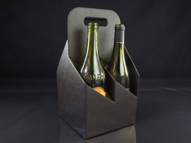 Panier carton 4 bouteilles - Noir