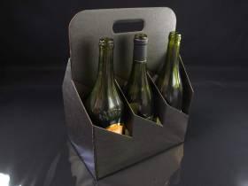 Panier carton 6 bouteilles - Noir