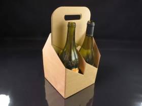 Panier carton 4 bouteilles - Brun