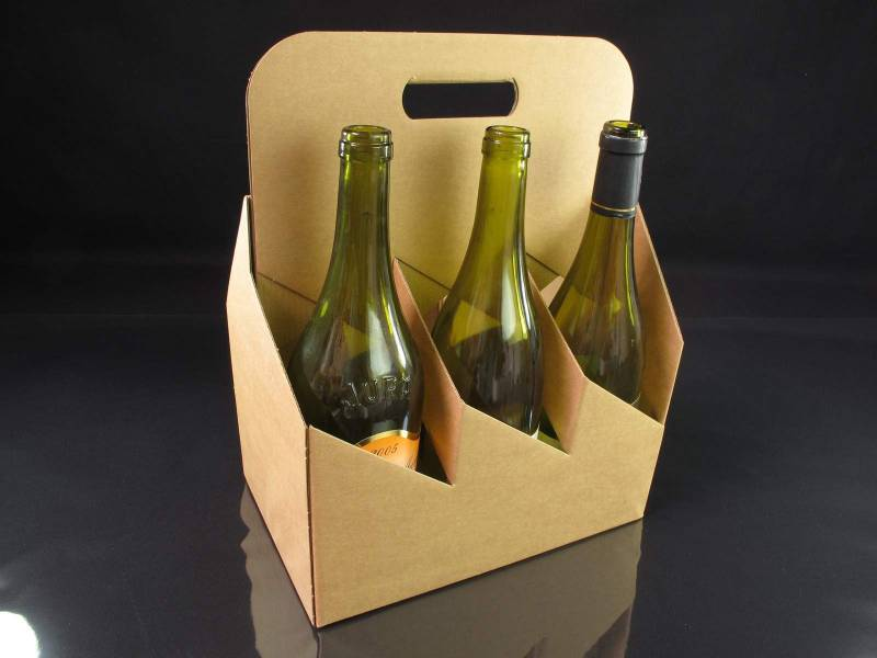 Panier carton 6 bouteilles - Brun