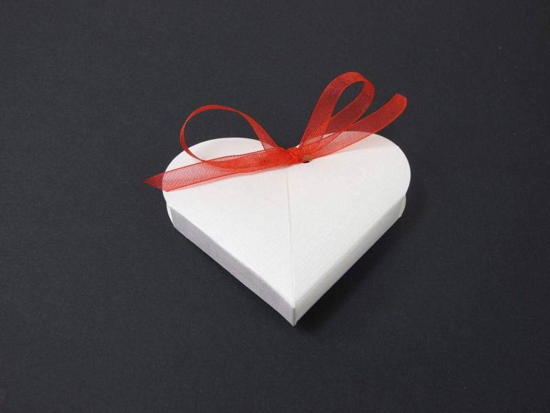 Boîte à dragées coeur - Blanc