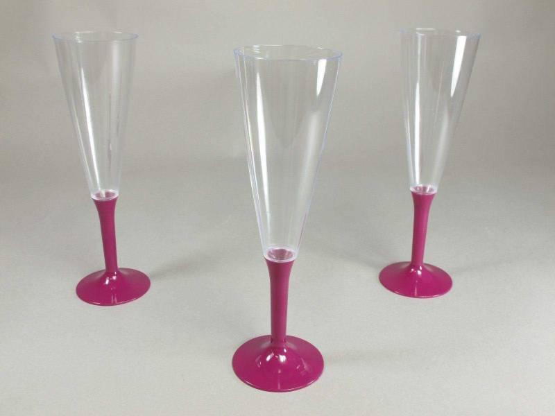 Flûte à Champagne en plastique pied  Fuchsia