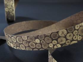 Bobine ruban papier motif rondin bois -  2,5cm
