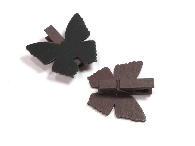 Ardoise papillon sur pince - Chocolat