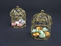 Cage à oiseaux bonbonnière en métal - Or