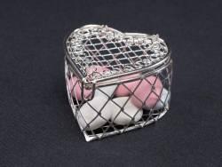Petit coeur bonbonnière en métal - Argent