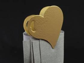 Coeur métal sur pince - Or