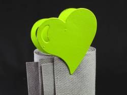 Coeur métal sur pince - Vert
