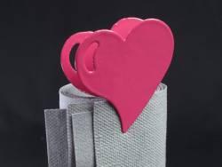 Coeur métal sur pince - Fuchsia