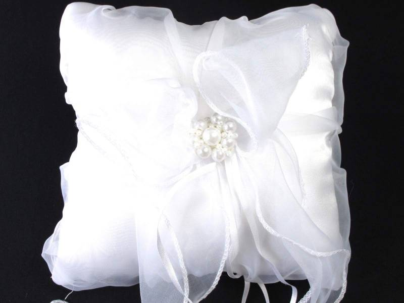 Coussin alliance perle - Blanc