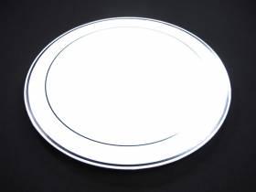 Assiette ronde avec liseré argent Grand Modèle - Blanc