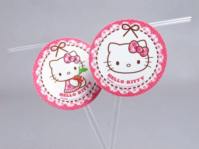 Paille médaillon - Hello Kitty