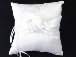 Coussin porte alliance fleur organza - Blanc