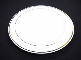 Assiette ronde avec liseré or Grand Modèle - Blanc