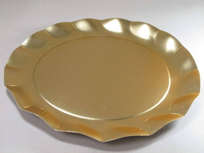 Assiette carton - Or Satiné 32,4cm
