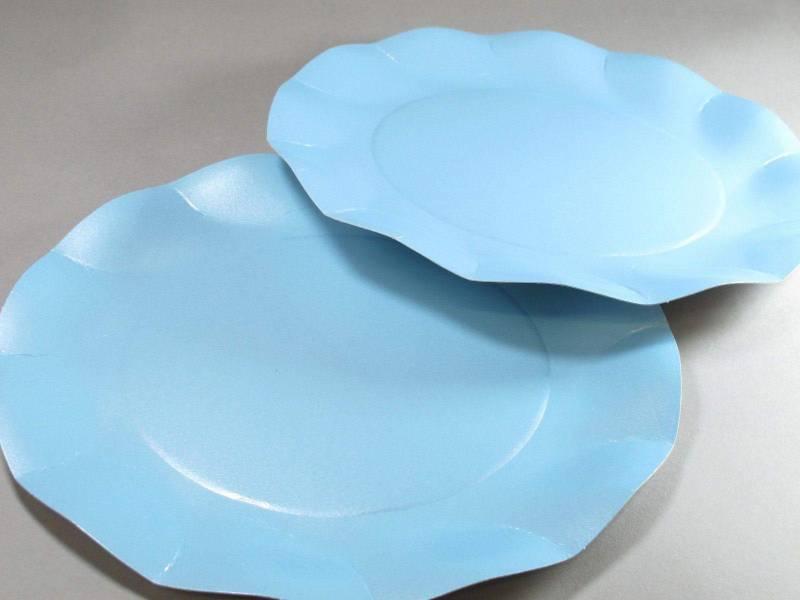 Assiette carton - Bleu Ciel Nacré 27cm