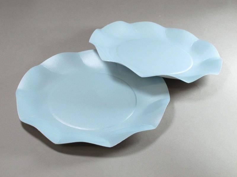 Assiette carton - Bleu Ciel Nacré 21cm