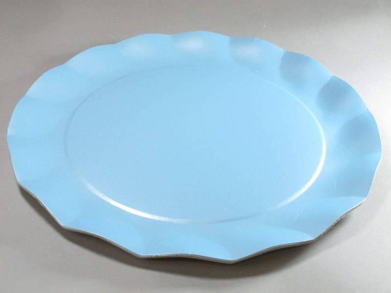Assiette carton - Bleu Ciel Nacré 32,4cm