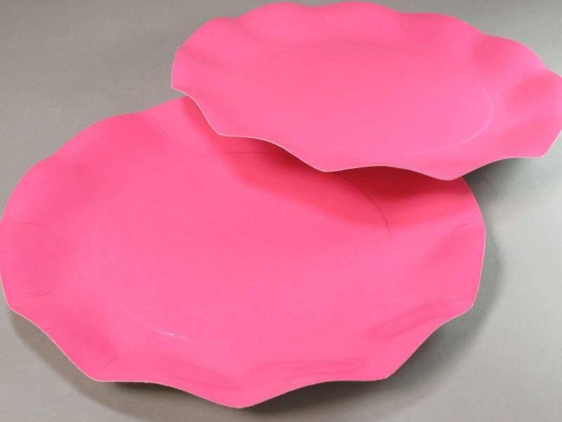Assiette carton - Rose Vif 27cm