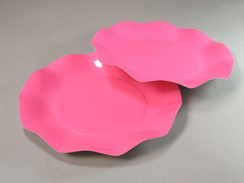 Assiette carton - Rose Vif 21cm