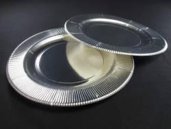 Assiette en carton cannelée - Argent Ø27cm