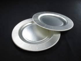 Assiette en carton cannelée - Argent satiné Ø21cm